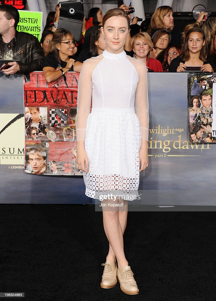 Actress Saoirse Ronan arrives at the Los Angeles Premiere 'The Twilight Saga: Breaking Dawn - Part 2' at Nokia Theatre L.A. Live on November 12, 2012 in Los Angeles, California.