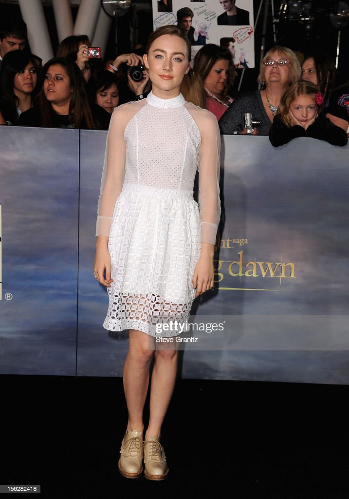 Actress Saoirse Ronan arrives at 'The Twilight Saga: Breaking Dawn - Part 2' Los Angeles premiere at Nokia Theatre L.A. Live on November 12, 2012 in Los Angeles, California.