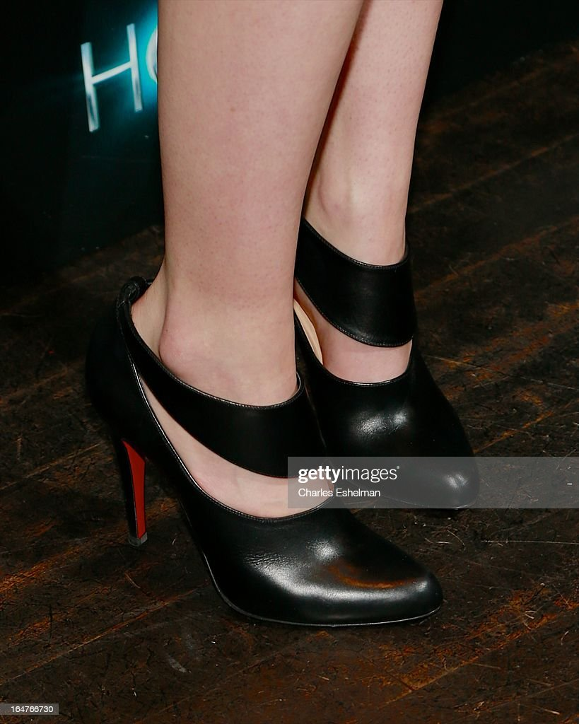 Actress Saoirse Ronan (shoe detail) at The Cinema Society & Jaeger-LeCoultre Host A Screening Of Open Road Films' 'The Host' at the Tribeca Grand Hotel - Screening Room on March 27, 2013 in New York City.