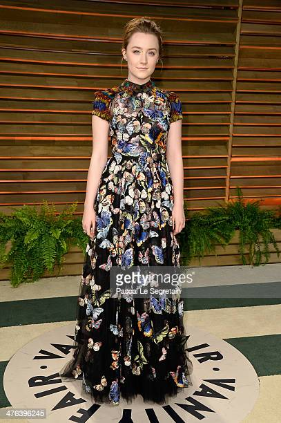 Actress Saoirse Ronan attends the 2014 Vanity Fair Oscar Party hosted by Graydon Carter on March 2 2014 in West Hollywood California