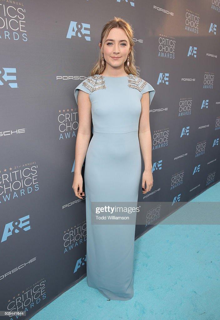 Actress Saoirse Ronan attends the 21st Annual Critics' Choice Awards at Barker Hangar on January 17 2016 in Santa Monica California