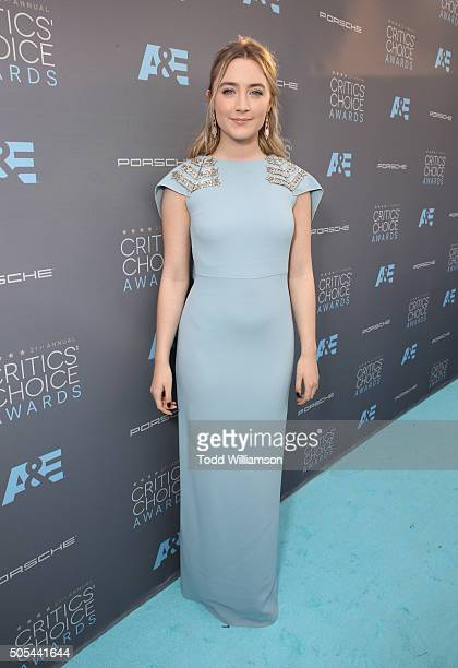 Actress Saoirse Ronan attends the 21st Annual Critics' Choice Awards at Barker Hangar on January 17 2016 in Santa Monica California