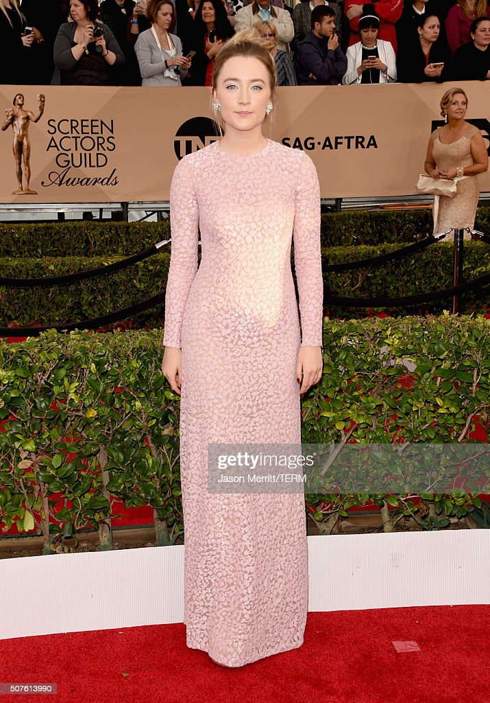 Actress Saoirse Ronan attends The 22nd Annual Screen Actors Guild Awards at The Shrine Auditorium on January 30 2016 in Los Angeles California...