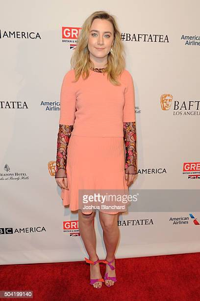 Actress Saoirse Ronan attends the BAFTA Los Angeles Awards Season Tea at Four Seasons Hotel Los Angeles at Beverly Hills on January 9 2016 in Los...