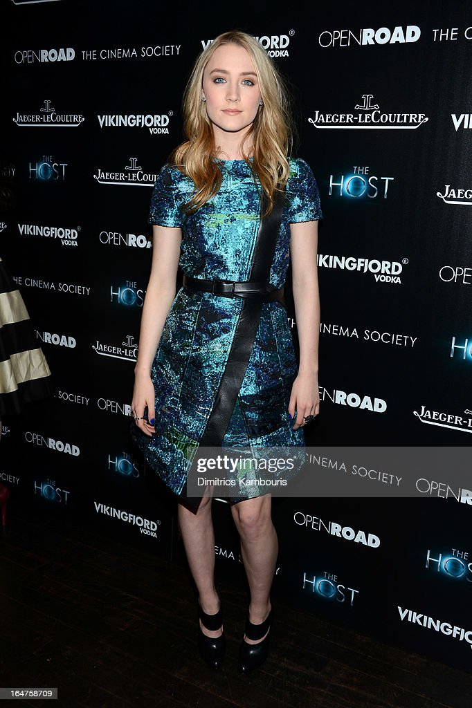 Actress Saoirse Ronan attends The Cinema Society and Jaeger-LeCoultre screening of Open Road Films' 'The Host' at Tribeca Grand Hotel on March 27, 2013 in New York City.