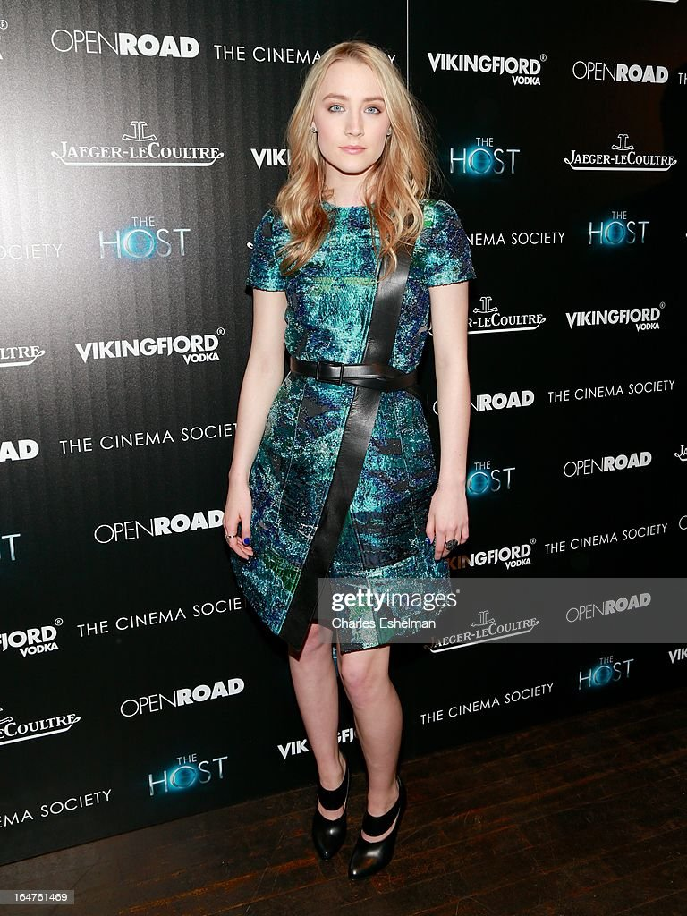 Actress Saoirse Ronan attends The Cinema Society & Jaeger-LeCoultre Host A Screening Of Open Road Films' 'The Host' at the Tribeca Grand Hotel - Screening Room on March 27, 2013 in New York City.