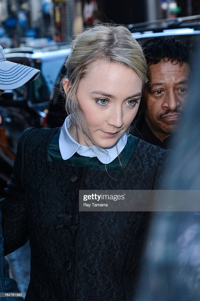 Actress Saoirse Ronan leaves the 'Good Morning America' taping at the ABC Times Square Studios on March 27, 2013 in New York City.