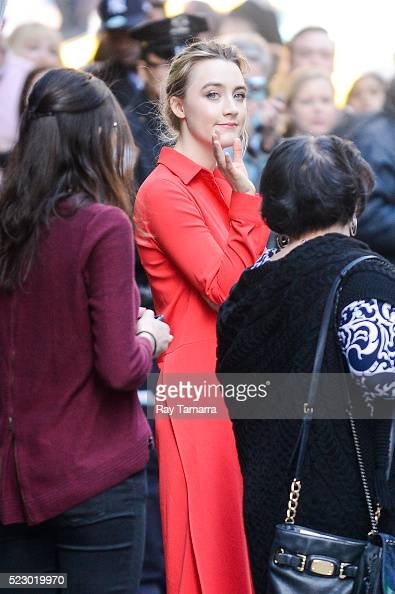 Actress Saoirse Ronan leaves the 'Good Morning America' taping at the ABC Times Square Studios on April 21 2016 in New York City