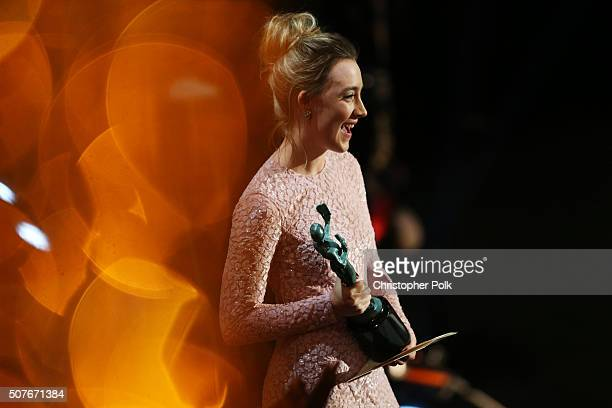 Actress Saoirse Ronan onstage during The 22nd Annual Screen Actors Guild Awards at The Shrine Auditorium on January 30 2016 in Los Angeles California...