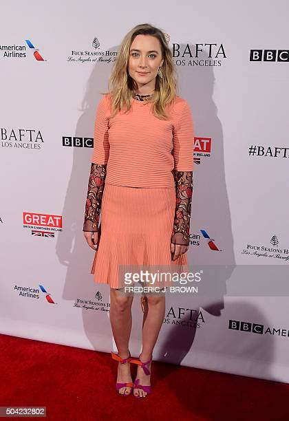 Actress Saoirse Ronan poses on arrival for 2016 British Academy of Film and Television Arts Los Angeles Tea Party in Beverly Hills California on...