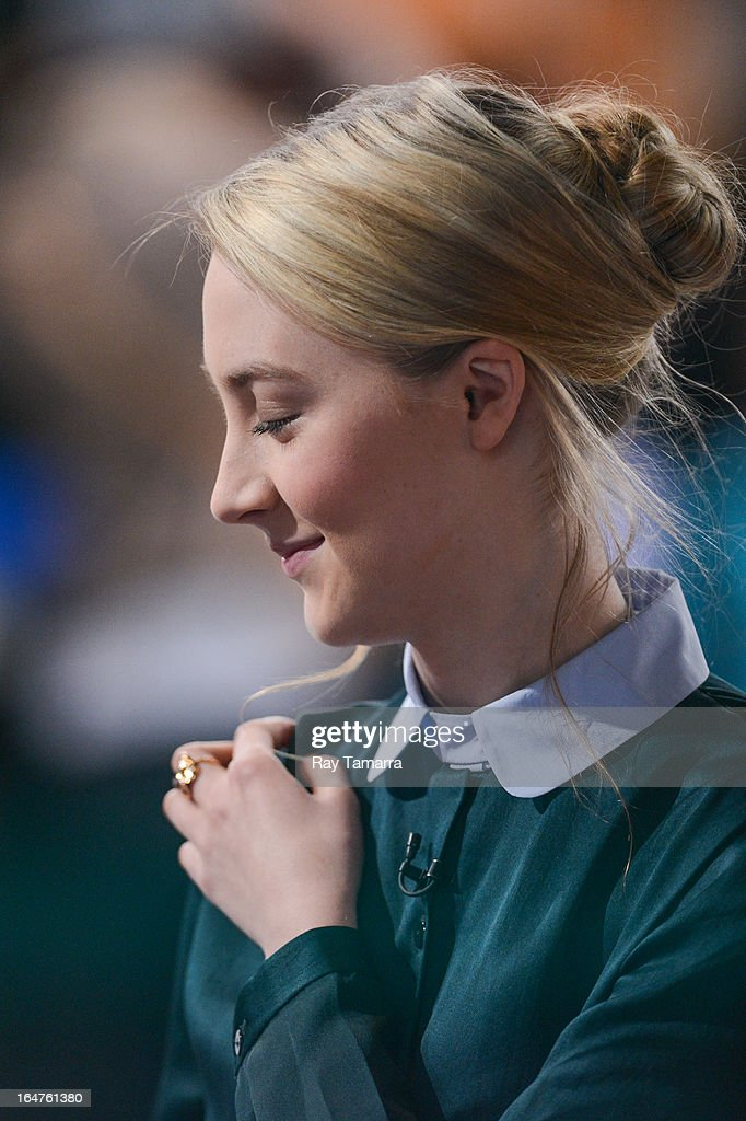 Actress Saoirse Ronan tapes an interview at 'Good Morning America' at the ABC Times Square Studios on March 27, 2013 in New York City.