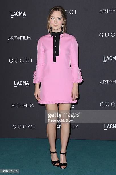 Actress Saoirse Ronan wearing Gucci attends LACMA 2015 ArtFilm Gala Honoring James Turrell and Alejandro G Iñárritu Presented by Gucci at LACMA on...