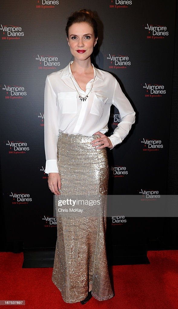 Actress <a gi-track='captionPersonalityLinkClicked' href=/galleries/search?phrase=Sara+Canning&family=editorial&specificpeople=6475831 ng-click='$event.stopPropagation()'>Sara Canning</a> attends The Vampire Diaries 100th Episode Celebration on November 9, 2013 in Atlanta, Georgia.