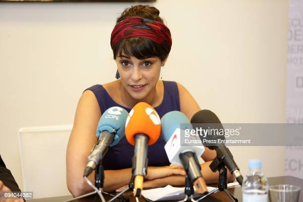 Actress Sara Casasnovas attends a presss conference after knowing that Arndt Mayer the German stalker of celebrities who tried to murder her with a...