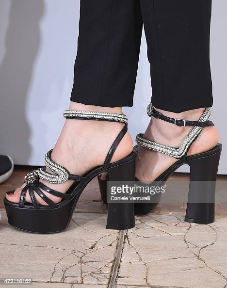 Actress Sara Forestier shoe detail attends the 'La Tete Haute photocall during the 68th annual Cannes Film Festival on May 13 2015 in Cannes France