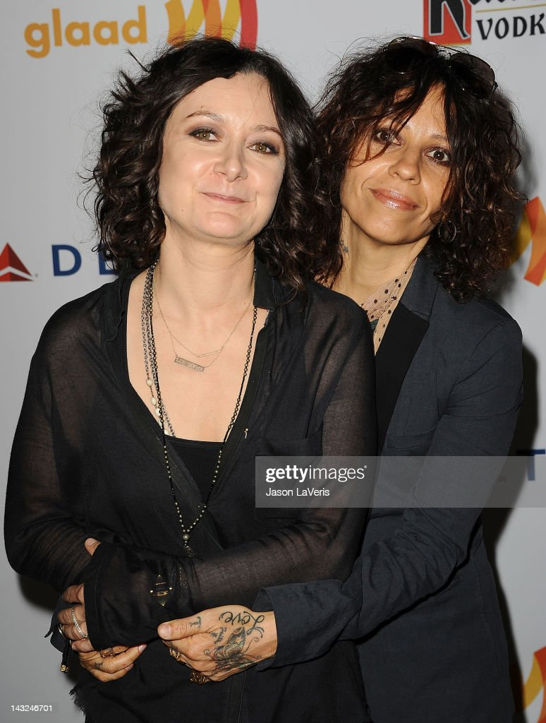 Actress Sara Gilbert and Linda Perry attend the 23rd annual GLAAD Media Awards at Westin Bonaventure Hotel on April 21, 2012 in Los Angeles, California.