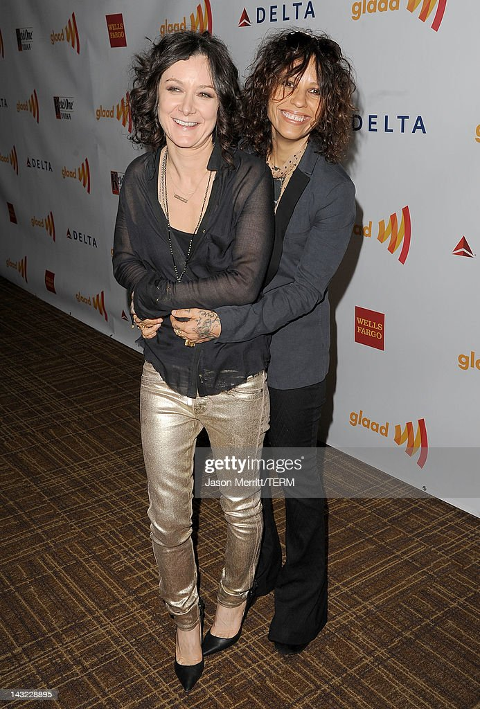Actress Sara Gilbert and musician Linda Perry arrive at the 23rd Annual GLAAD Media Awards presented by Ketel One and Wells Fargo held at Westin Bonaventure Hotel on April 21, 2012 in Los Angeles, California.