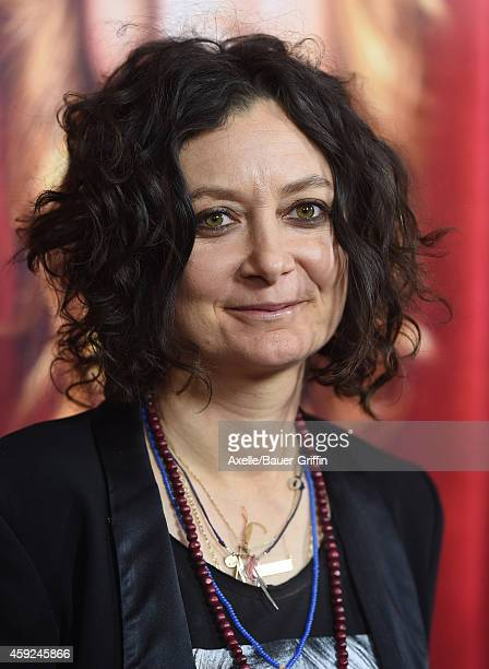 Actress Sara Gilbert arrives at the season premiere of HBO's 'The Comeback' at the El Capitan Theatre on November 5 2014 in Hollywood California