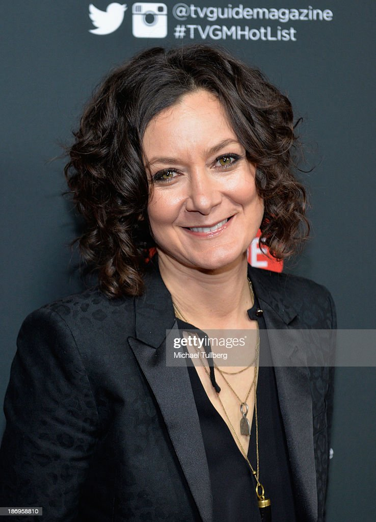 Actress <a gi-track='captionPersonalityLinkClicked' href=/galleries/search?phrase=Sara+Gilbert&family=editorial&specificpeople=585732 ng-click='$event.stopPropagation()'>Sara Gilbert</a> attends TV Guide Magazine's Annual Hot List Party at The Emerson Theatre on November 4, 2013 in Hollywood, California.