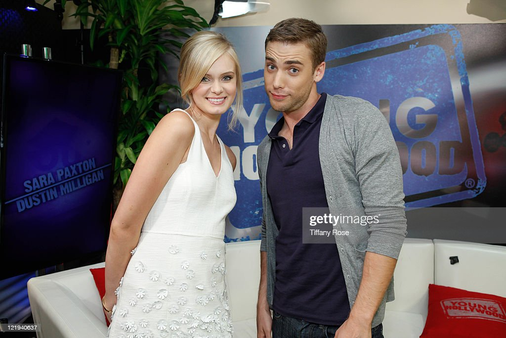 Actress Sara Paxton and actor Dustin Milligan visit YoungHollywood.com at the Young Hollywood Studio on August 23, 2011 in Los Angeles, California.