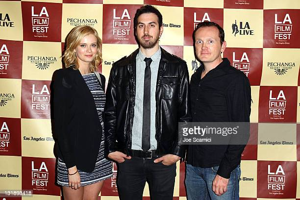 Actress Sara Paxton Director Ti West and actor Pat Healy attend the 'The Innkeepers' Q A during the 2011 Los Angeles Film Festival at Regal Cinemas...