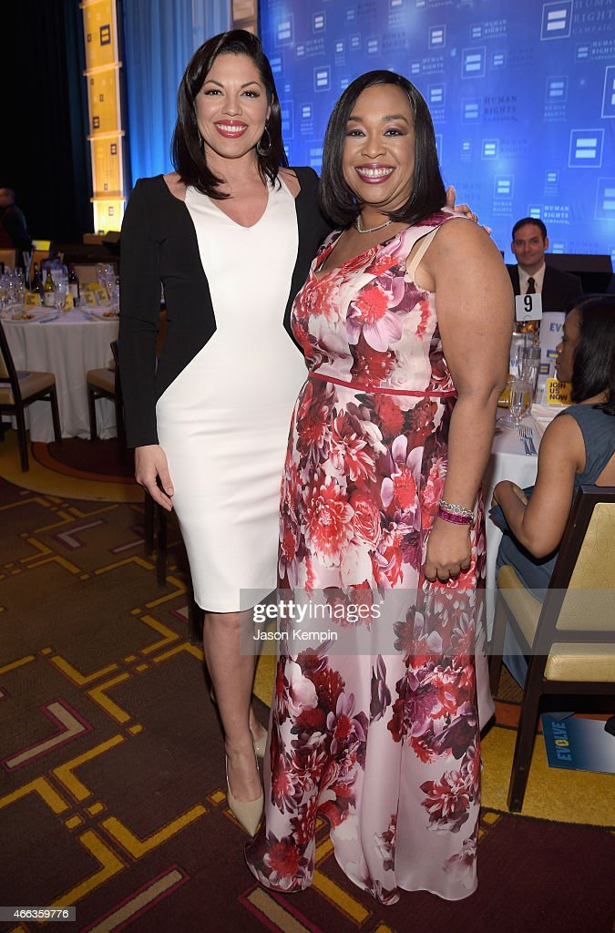 Actress Sara Ramirez (L) and Honoree Shonda Rhimes attend the Human Rights Campaign Los Angeles Gala 2015 at JW Marriott Los Angeles at L.A. LIVE on March 14, 2015 in Los Angeles, California.