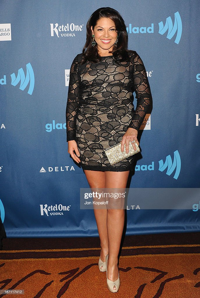 Actress Sara Ramirez arrives at the 24th Annual GLAAD Media Awards at JW Marriott Los Angeles at L.A. LIVE on April 20, 2013 in Los Angeles, California.