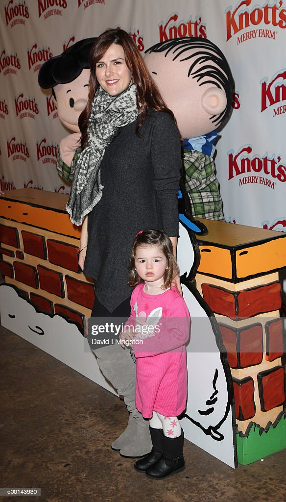 Actress Sara Rue and Talulah Price attend Knott's Berry Farm's Countdown To Christmas And Snoopy's Merriest Tree Lighting at Knott's Berry Farm on...