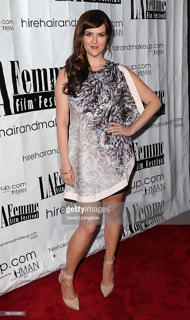 Actress <a gi-track='captionPersonalityLinkClicked' href=/galleries/search?phrase=Sara+Rue&family=editorial&specificpeople=203287 ng-click='$event.stopPropagation()'>Sara Rue</a> attends the 9th Annual LA Femme International Film Festival Awards Gala and Show at the Renberg Theatre on October 20, 2013 in Los Angeles, California.