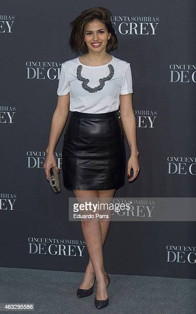 Actress Sara Salamo attends '50 Shades of Grey' premiere at Callao City Lights cinema on February 12 2015 in Madrid Spain