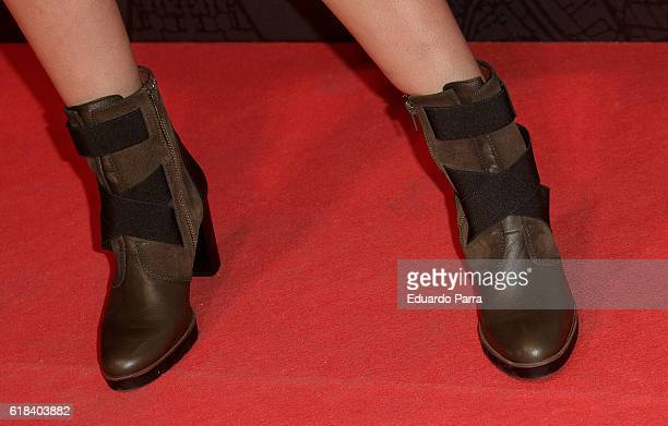 Actress Sara Salamo shoes detail attends the 'Que Dios nos perdone' photocall at Capitol cinema on October 26 2016 in Madrid Spain