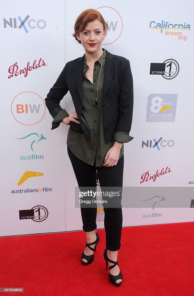 Actress Sara West arrives at Australians In Film Heath Ledger Scholarship Dinner on June 1 2016 in Beverly Hills California