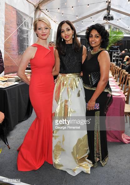 Actress Sarah Allen Actress Gia Sandhu and Renuka Pillai attend the Holt Renfrew cast dinner for 'Beeba Boys' during the 2015 Toronto International...