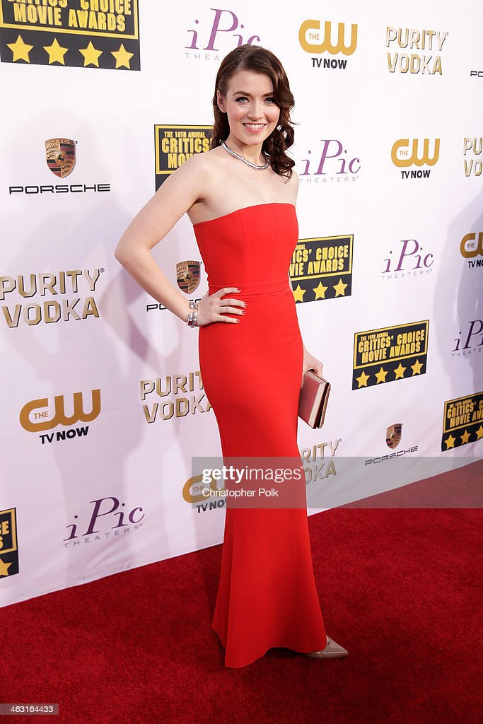 Actress Sarah Belcher attends the 19th Annual Critics' Choice Movie Awards at Barker Hangar on January 16, 2014 in Santa Monica, California.