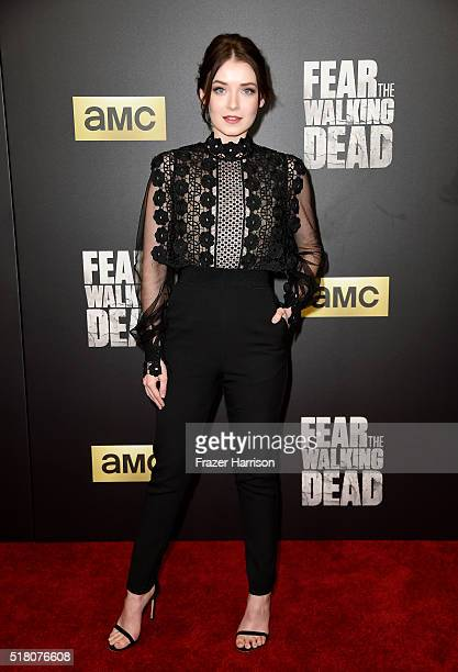 Actress Sarah Bolger attends the premiere of AMC's 'Fear The Walking Dead' Season 2 at Cinemark Playa Vista on March 29 2016 in Los Angeles California