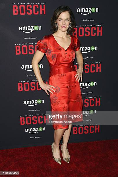 Actress Sarah Clarke attends the Premiere Of Amazon's 'Bosch' Season 2 held at the SilverScreen Theater at the Pacific Design Center on March 3 2016...