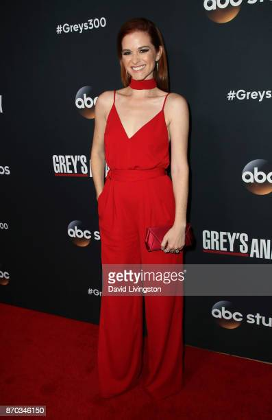 Actress Sarah Drew attends the 300th episode celebration for ABC's 'Grey's Anatomy' at TAO Hollywood on November 4 2017 in Los Angeles California