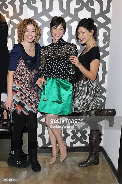Actress Sarah Felberbaum Francesca Inaudi and Giulia Bevilacqua attend the Ester Maria Rivaroli Flagship Store Opening on March 25 2010 in Rome Italy