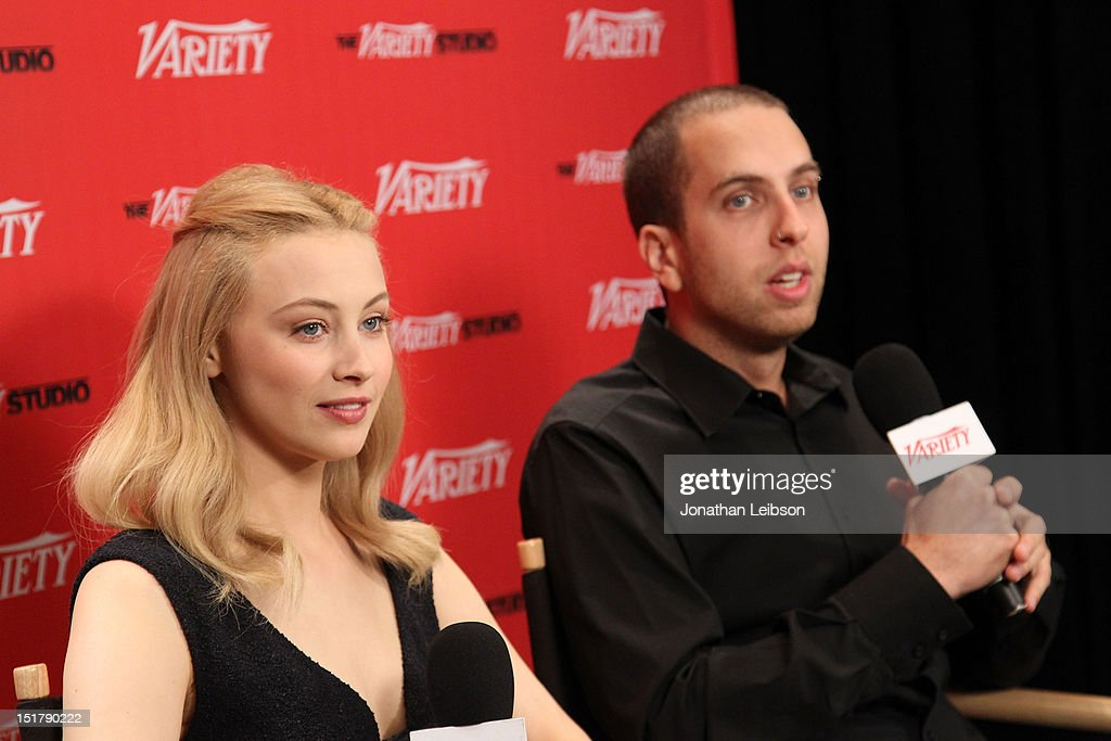 Actress Sarah Gadon (L) and director Brandon Cronenberg attend the Variety Studio Presented By Moroccanoil during the Toronto International Film Festival at Holt Renfrew at Holt Renfrew, Toronto on September 11, 2012 in Toronto, Canada.
