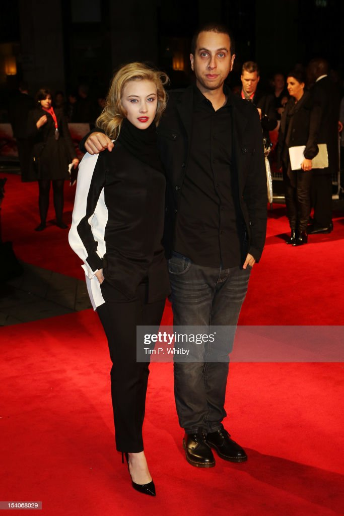 Actress <a gi-track='captionPersonalityLinkClicked' href=/galleries/search?phrase=Sarah+Gadon&family=editorial&specificpeople=6606524 ng-click='$event.stopPropagation()'>Sarah Gadon</a> (L) and filmmaker Brandon Cronenberg attend the premiere of 'Antiviral' during the 56th BFI London Film Festival at Odeon West End on October 13, 2012 in London, England.