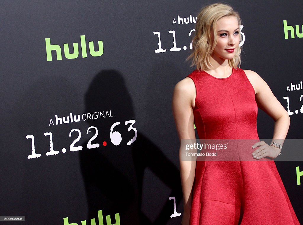 Actress <a gi-track='captionPersonalityLinkClicked' href=/galleries/search?phrase=Sarah+Gadon&family=editorial&specificpeople=6606524 ng-click='$event.stopPropagation()'>Sarah Gadon</a> attends the Hulu Original '11.22.63' premiere at the Regency Bruin Theatre on February 11, 2016 in Los Angeles, California.