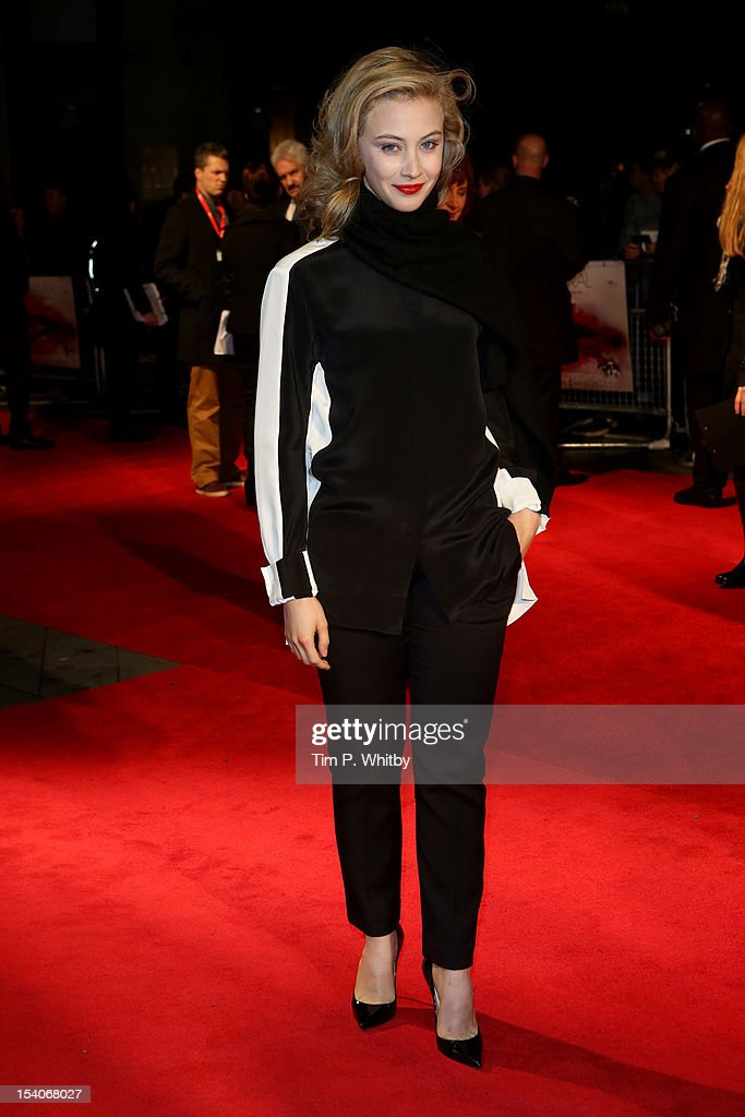 Actress <a gi-track='captionPersonalityLinkClicked' href=/galleries/search?phrase=Sarah+Gadon&family=editorial&specificpeople=6606524 ng-click='$event.stopPropagation()'>Sarah Gadon</a> attends the premiere of 'Antiviral' during the 56th BFI London Film Festival at Odeon West End on October 13, 2012 in London, England.