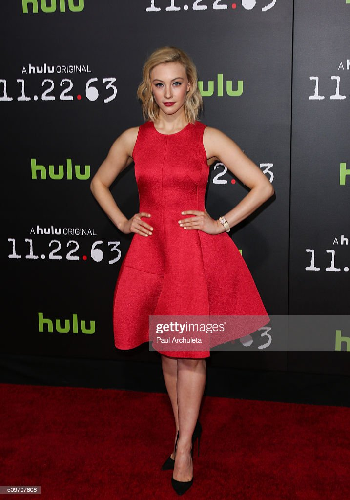 Actress <a gi-track='captionPersonalityLinkClicked' href=/galleries/search?phrase=Sarah+Gadon&family=editorial&specificpeople=6606524 ng-click='$event.stopPropagation()'>Sarah Gadon</a> attends the premiere of Hulu's new series '11.22.63' at Regency Bruin Theatre on February 11, 2016 in Los Angeles, California.