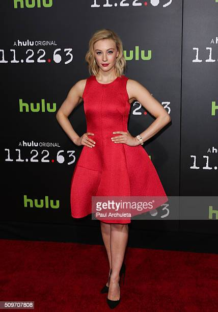 Actress Sarah Gadon attends the premiere of Hulu's new series '112263' at Regency Bruin Theatre on February 11 2016 in Los Angeles California