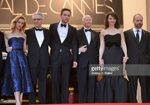 Actress Sarah Gadon director David Cronenberg actor Robert Pattinson President of the Cannes Film Festival Gilles Jacob actors Juliet Binoche and...