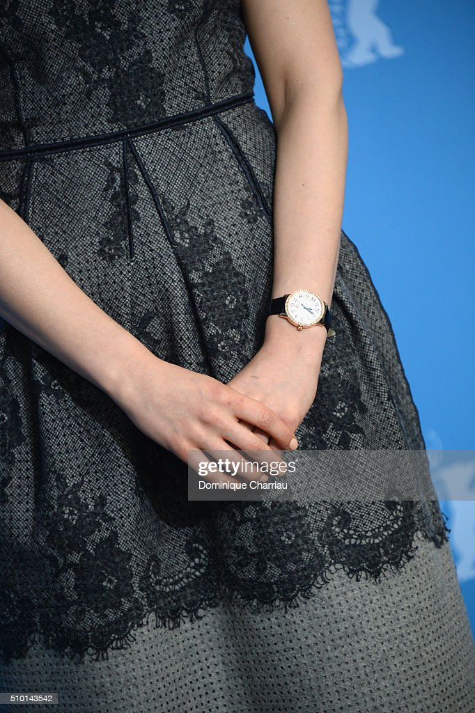Actress <a gi-track='captionPersonalityLinkClicked' href=/galleries/search?phrase=Sarah+Gadon&family=editorial&specificpeople=6606524 ng-click='$event.stopPropagation()'>Sarah Gadon</a>, fashion detail, attends the 'Indignation' photo call during the 66th Berlinale International Film Festival Berlin at Grand Hyatt Hotel on February 14, 2016 in Berlin, Germany.