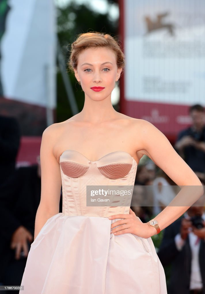 Actress <a gi-track='captionPersonalityLinkClicked' href=/galleries/search?phrase=Sarah+Gadon&family=editorial&specificpeople=6606524 ng-click='$event.stopPropagation()'>Sarah Gadon</a> wears the Jaeger-LeCoultre Reverso Cordonnet watch at the 'Joe' Premiere during the 70th Venice Film Festival at the Palazzo del Cinema on August 30, 2013 in Venice, Italy.