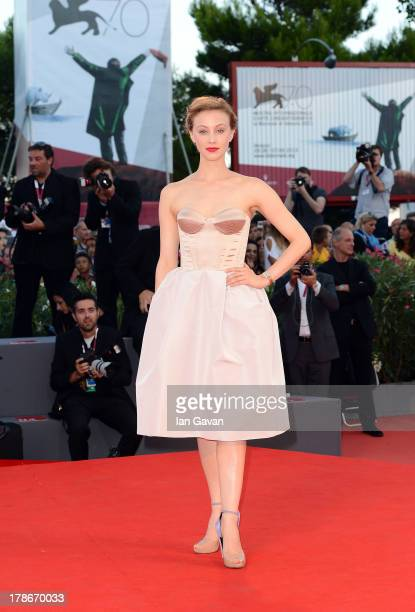 Actress Sarah Gadon wears the JaegerLeCoultre Reverso Cordonnet watch at the 'Joe' Premiere during the 70th Venice Film Festival at the Palazzo del...