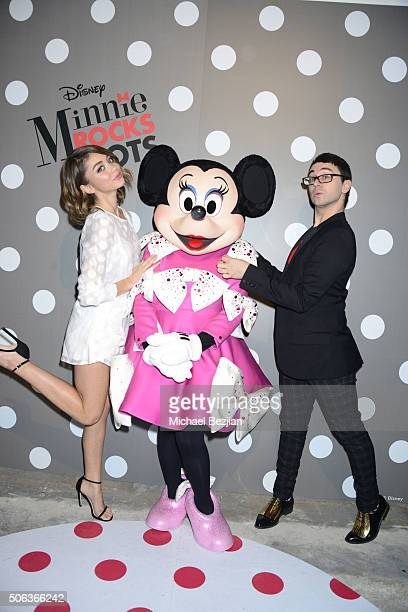 Actress Sarah Hyland and designer Christian Siriano strike a pose with global style icon Minnie Mouse in celebration of National Polka Dot Day The...