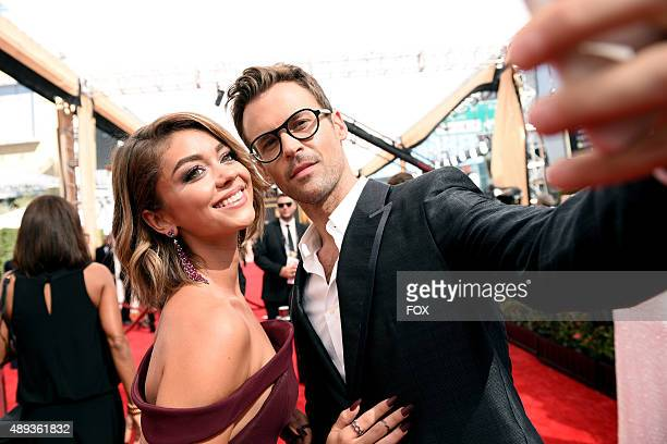 Actress Sarah Hyland and TV personality Brad Goreski attend the 67th Annual Primetime Emmy Awards at Microsoft Theater on September 20 2015 in Los...